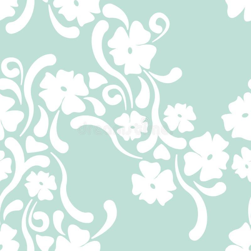Vector naadloos abstract uitstekend patroon met bloemen op lichtblauwe achtergrond royalty-vrije illustratie