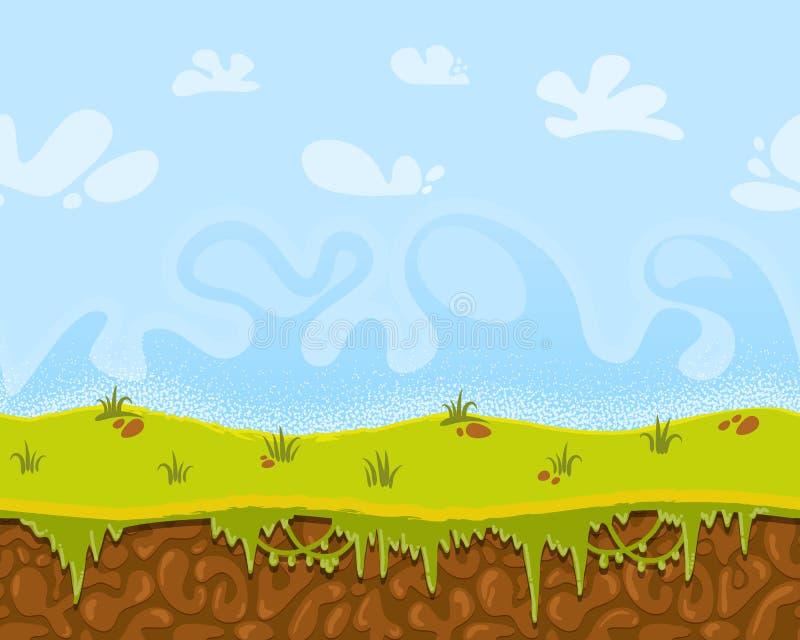 Vector naadloos beeldverhaal fantastisch landschap, oneindige achtergrond voor spelontwerp stock illustratie
