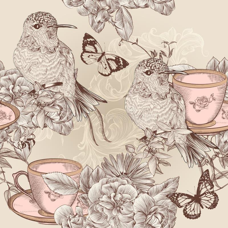 Vector naadloos behangpatroon in bloemen uitstekende stijl royalty-vrije illustratie
