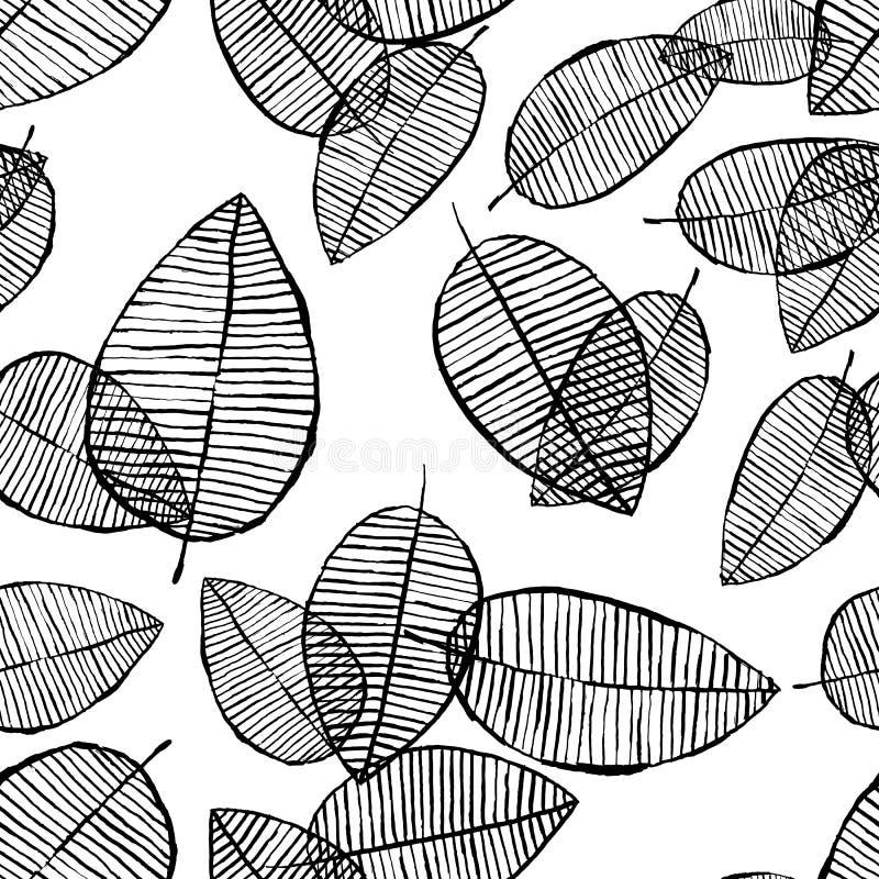 Vector naadloos bladerenpatroon Zwarte witte die achtergrond met waterverf, inkt en teller wordt gemaakt In Skandinavisch ontwerp stock illustratie