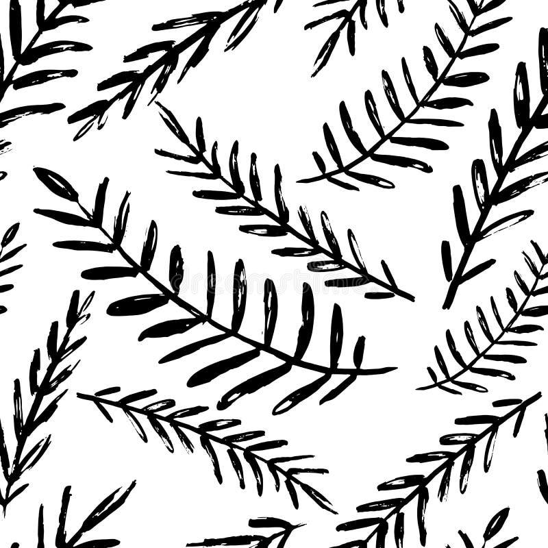 Vector naadloos bladerenpatroon Zwarte witte die achtergrond met waterverf, inkt en teller wordt gemaakt In Skandinavisch ontwerp royalty-vrije illustratie