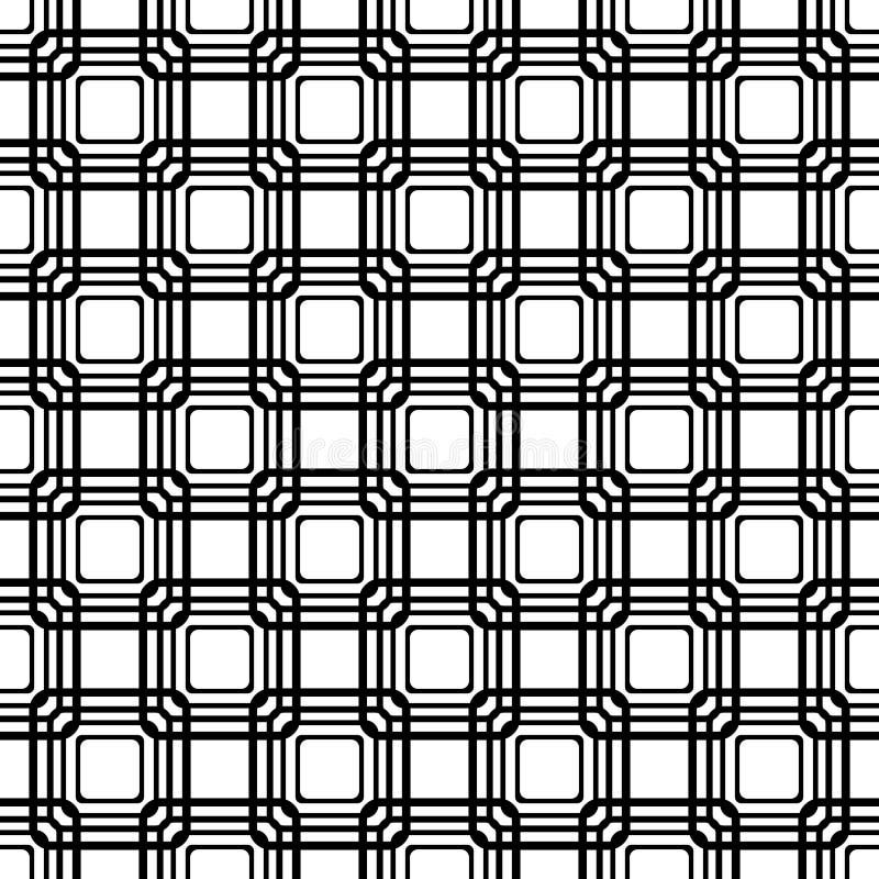 Vector naadloos blauw rond gemaakt rechthoekpatroon eindeloze zwart-witte textuur abstracte geometrische ornamentachtergrond stock illustratie
