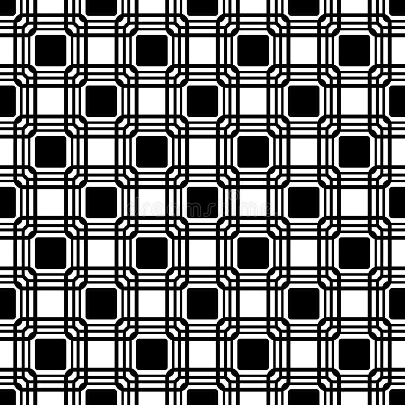 Vector naadloos blauw rond gemaakt rechthoekpatroon eindeloze zwart-witte textuur abstracte geometrische ornamentachtergrond royalty-vrije illustratie