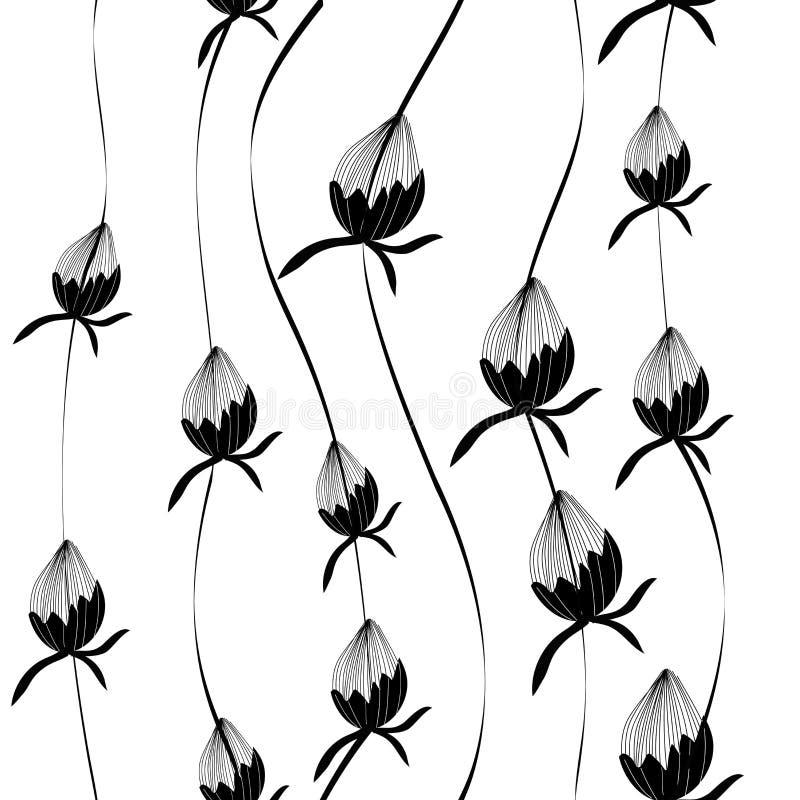 Vector naadloos bloemenpatroon, druk Knoppen, bloemen Zwart-wit druk Transparante Achtergrond vector illustratie