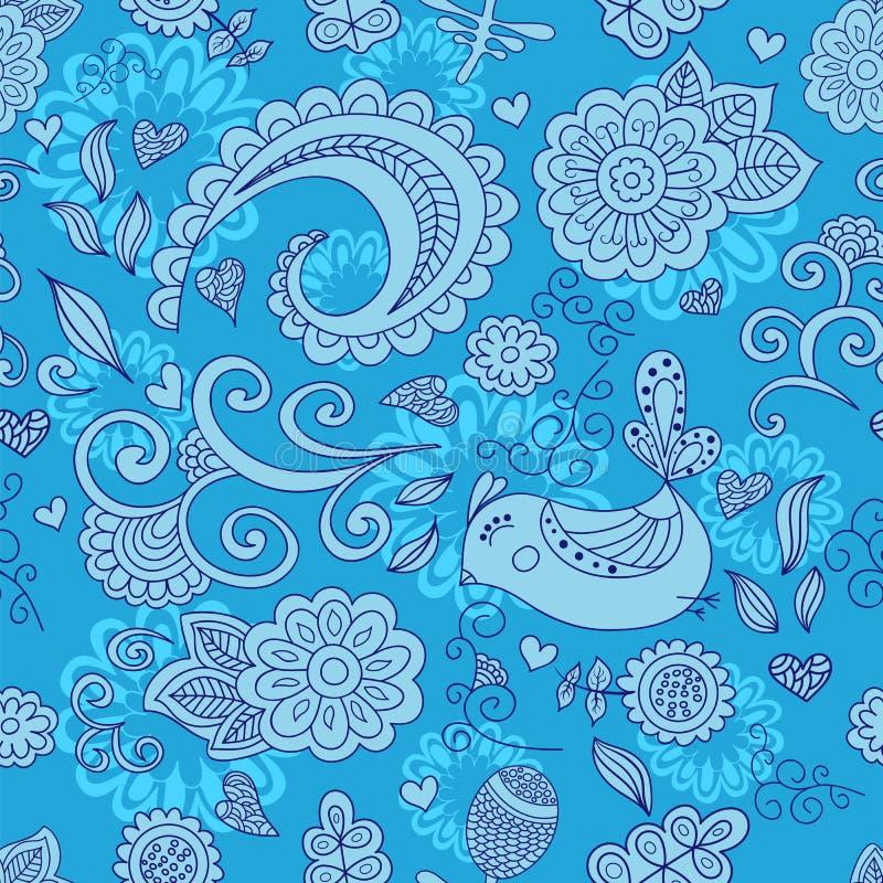 Vector naadloos bloemenpatroon en een leuke vogel Blauw royalty-vrije illustratie