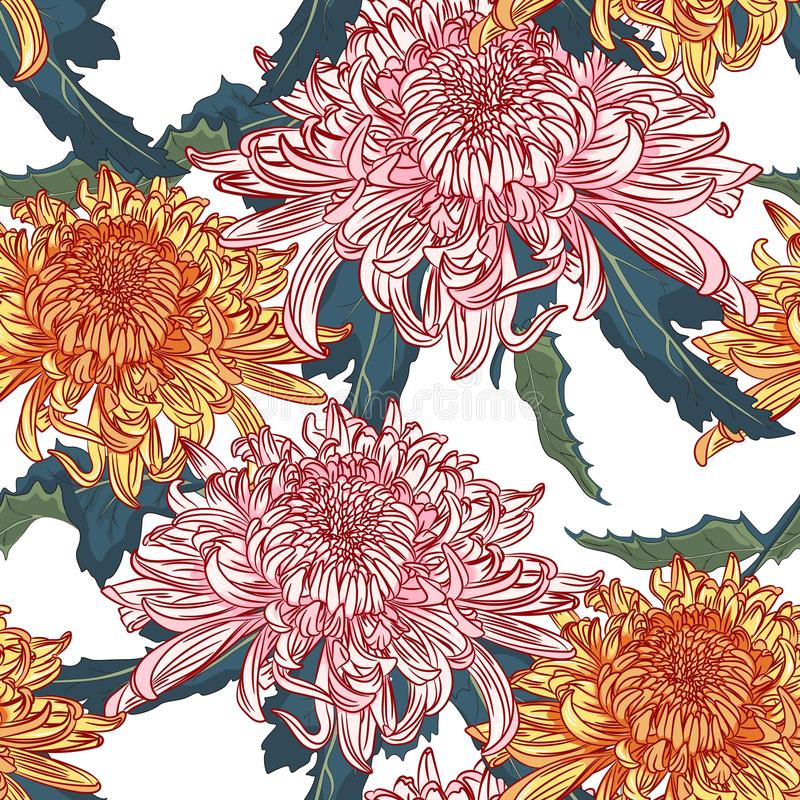 Vector naadloos bloemenpatroon Japanse nationale bloem roze oranje chrysant vector illustratie