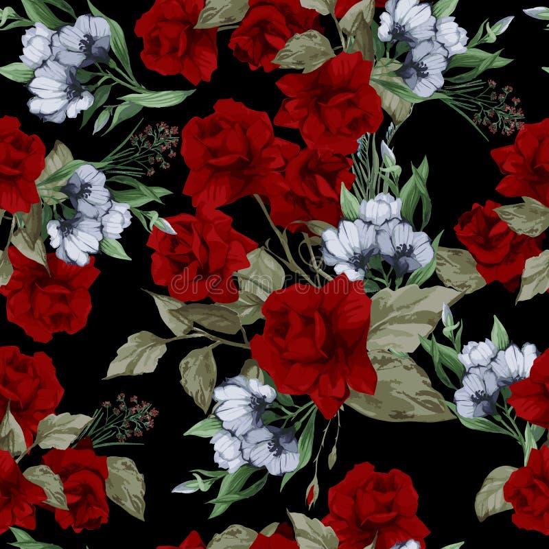 Vector naadloos bloemenpatroon met rode rozen vector illustratie