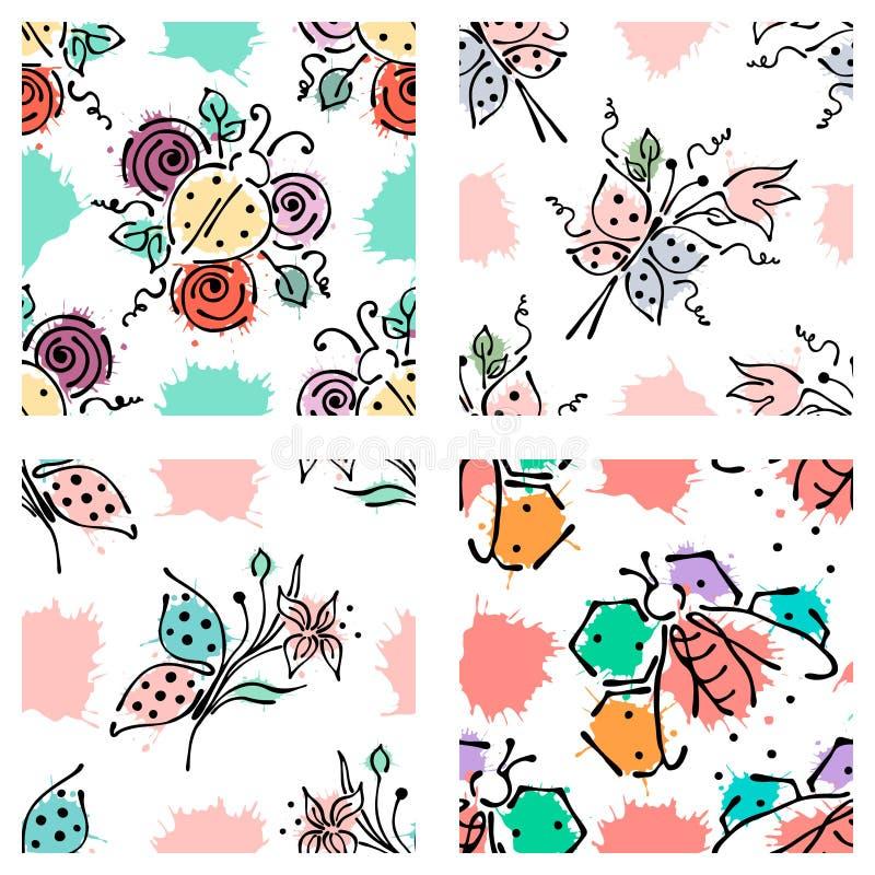 Vector naadloos bloemenpatroon met vlinder, apis, ladubug, plons, vlekken, lijnen van de dalings de Hand getrokken contour en sla stock illustratie