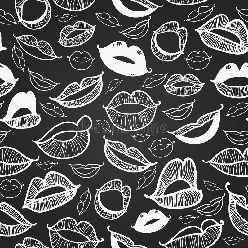 Vector naadloos bord Hete lippen vector illustratie