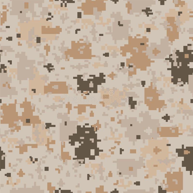 Vector naadloos camouflagepatroon - manier eindeloos ontwerp De bruine textuur van de pixelwoestijn In herhaalbare achtergrond stock illustratie