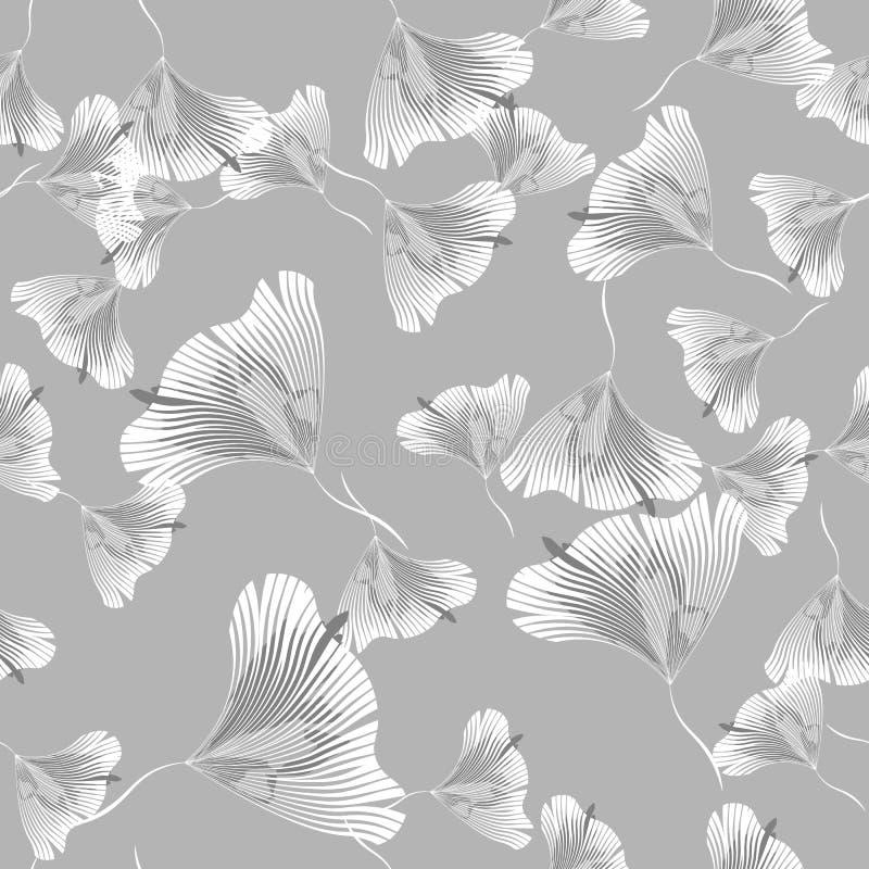 Vector Naadloos Contour Bloemenpatroon Zwart-wit Bloementextuur, Decoratieve Bladeren stock illustratie