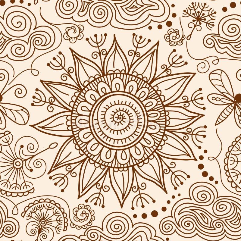 Vector naadloos de krabbelpatroon van Hennamehndi royalty-vrije illustratie