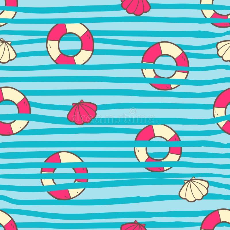 Vector naadloos de zomerpatroon met de ring en shell van het kleurenleven B royalty-vrije illustratie