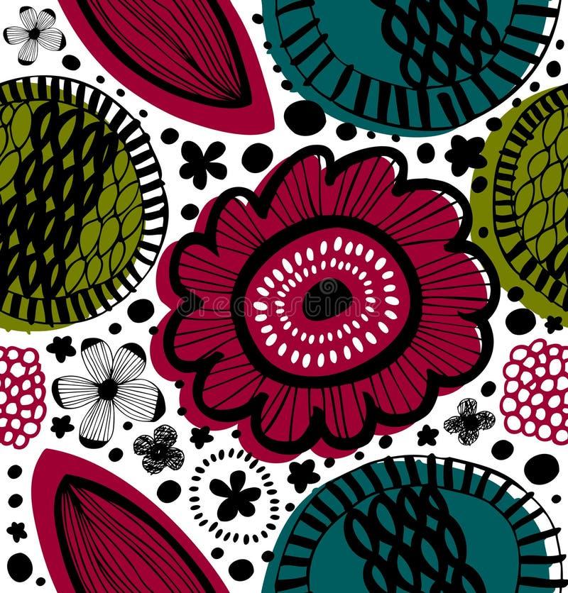 Vector naadloos decoratief bloemenpatroon Samenvatting getrokken achtergrond De zomertextuur stock illustratie