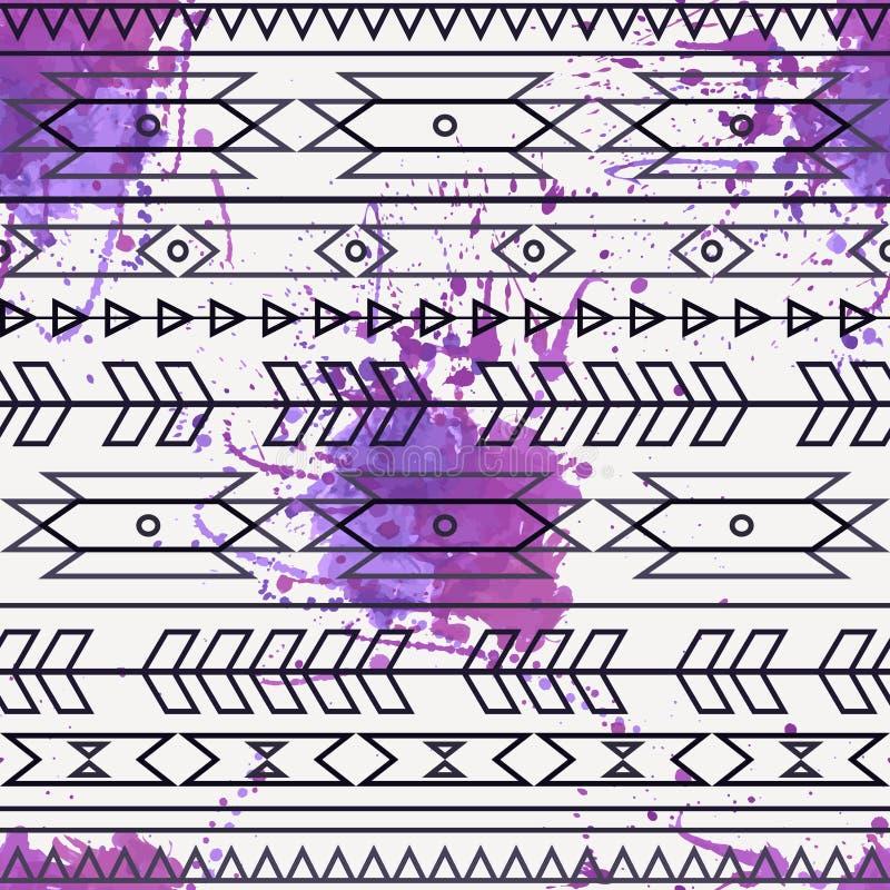 Vector naadloos decoratief etnisch patroon met waterverfplons stock illustratie