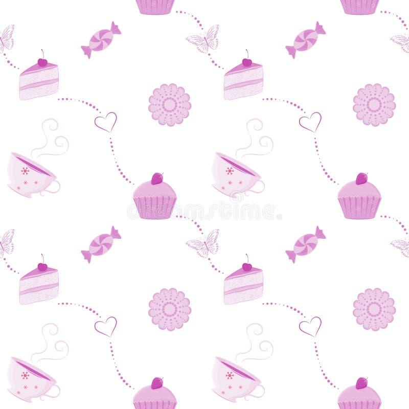 Vector naadloos dessertpatroon stock illustratie