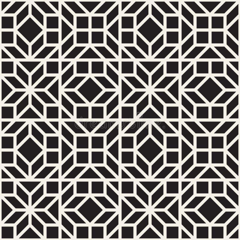 Vector naadloos etnisch patroon Het herhalen van abstracte achtergrond Zwart-wit geometrisch gestreept ornament modern royalty-vrije stock foto