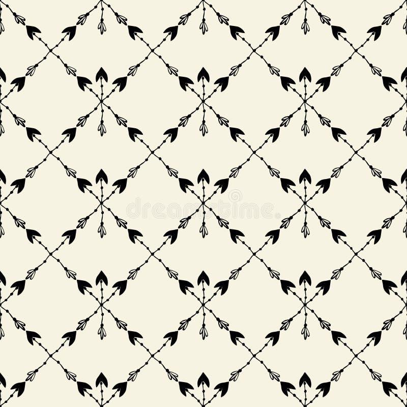 Vector naadloos etnisch patroon met pijl Naadloos patroon in inheemse Amerikaanse stijl Stammenpijlen op witte achtergrond royalty-vrije illustratie