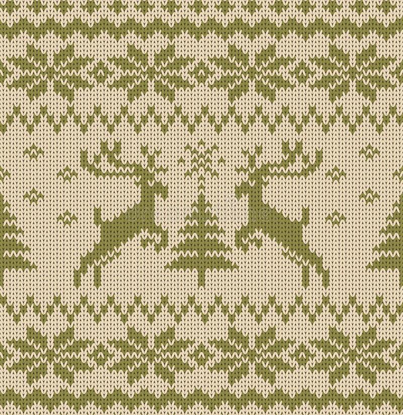 Vector Naadloos Gebreid Patroon met Deers vector illustratie
