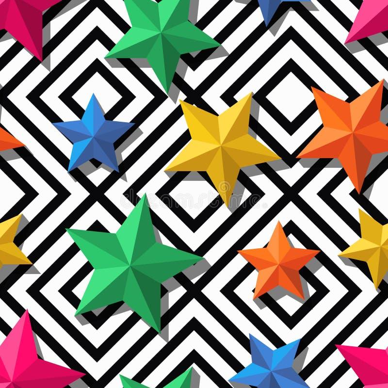 Vector naadloos geometrisch patroon 3d gestileerde veelkleurige sterren op zwart-wit achtergrond vector illustratie