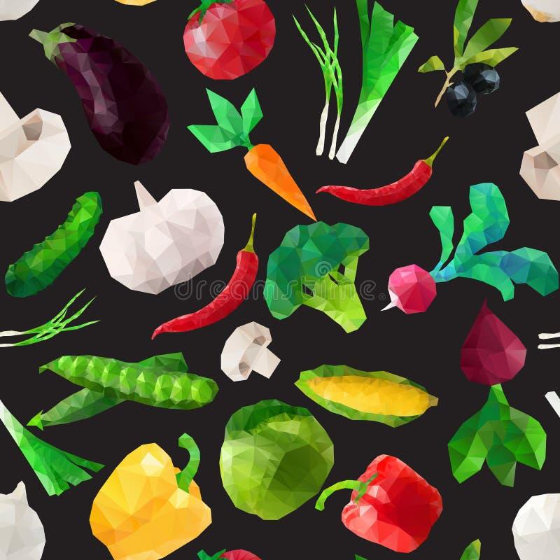 Vector naadloos geometrisch patroon met veelhoekige groenten vector illustratie