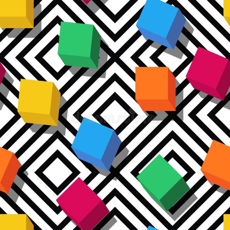 Vector naadloos geometrisch patroon Vlakke stijlkubussen en zwarte, witte geometrische achtergrond stock illustratie