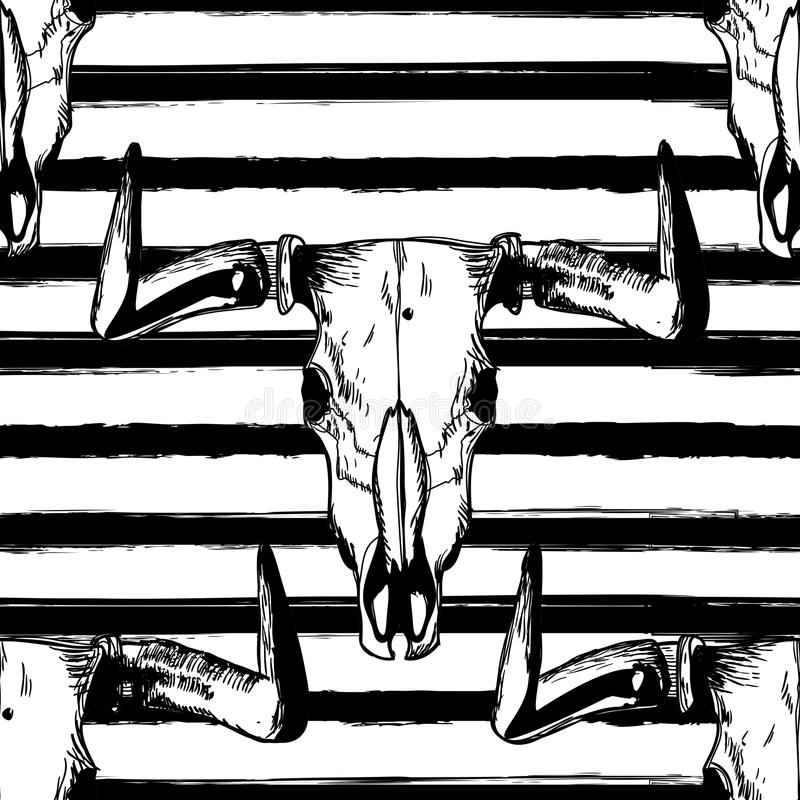 Vector naadloos gestreept patroon met hand getrokken buffelsschedels Stammengrungeornament royalty-vrije illustratie