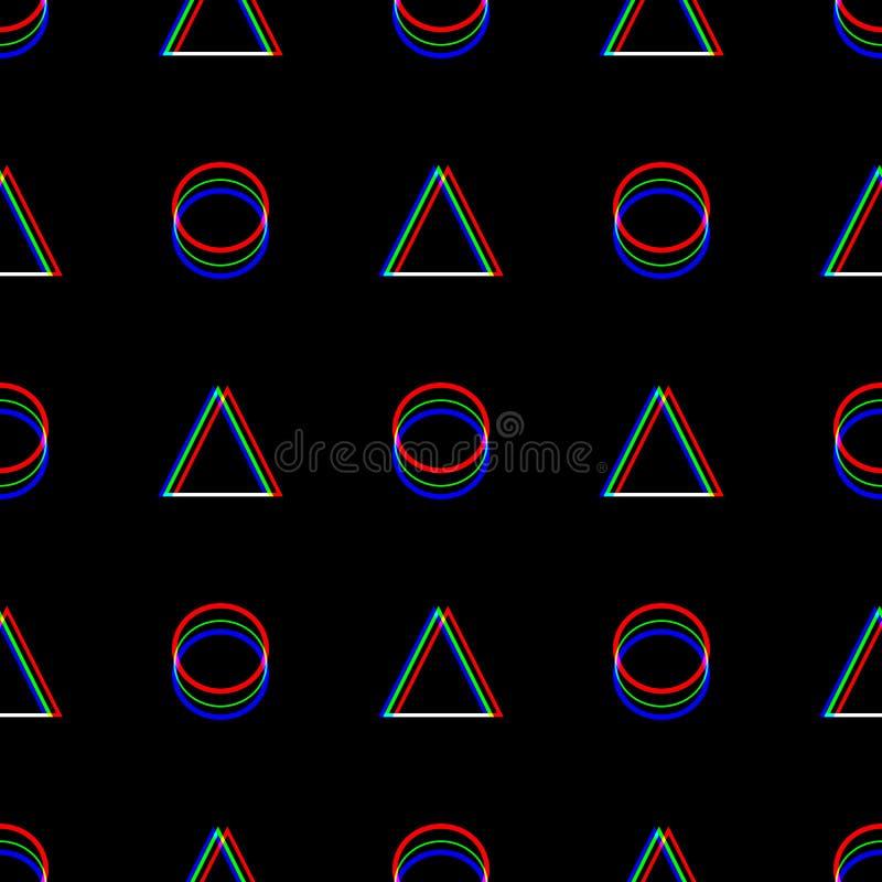 Vector naadloos Glitch patroon Kleur op zwarte achtergrond Driehoek en cirkel Het digitale abstracte ontwerp van het pixellawaai royalty-vrije illustratie