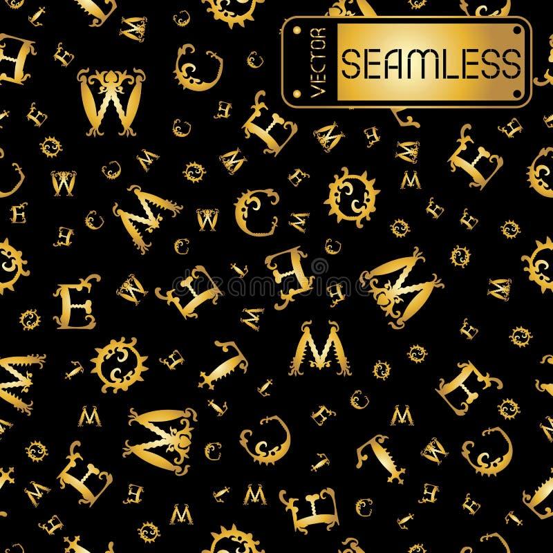 Vector naadloos gouden uitstekend patroon met gebogen brieven op zwarte achtergrond royalty-vrije illustratie