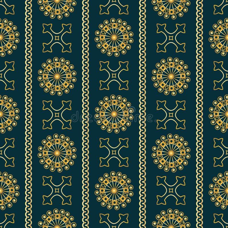 Vector naadloos gouden uitstekend sierpatroon op donkerblauwe achtergrond royalty-vrije illustratie