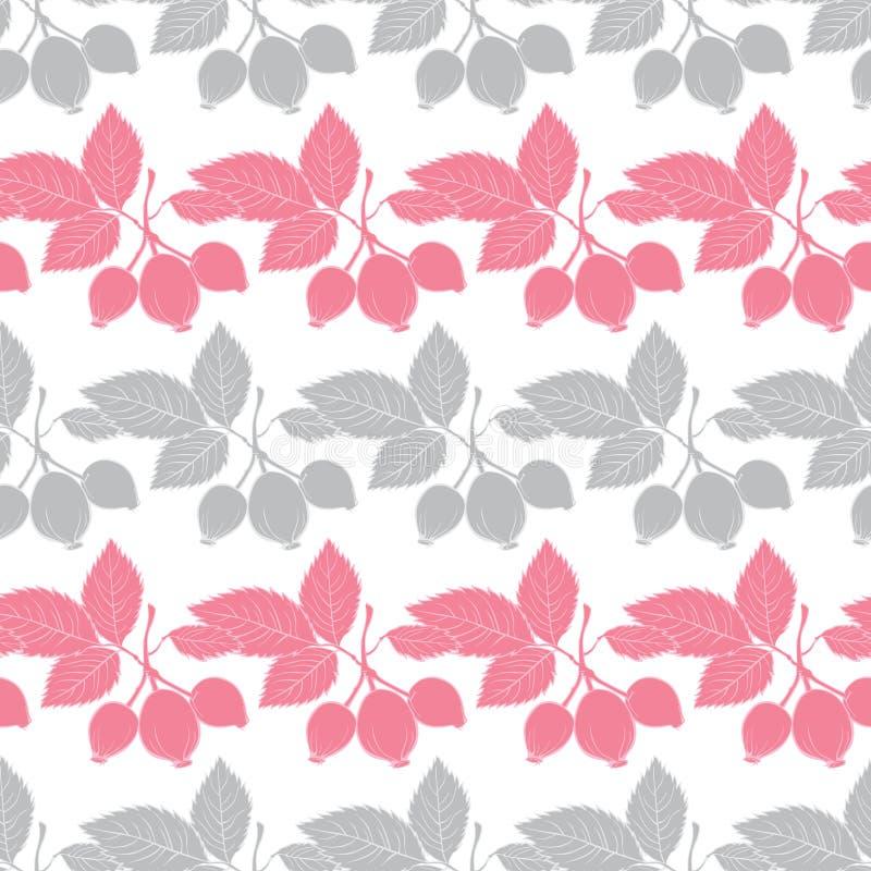 Vector Naadloos Gray Pink Rosehip Berries Stripes stock illustratie