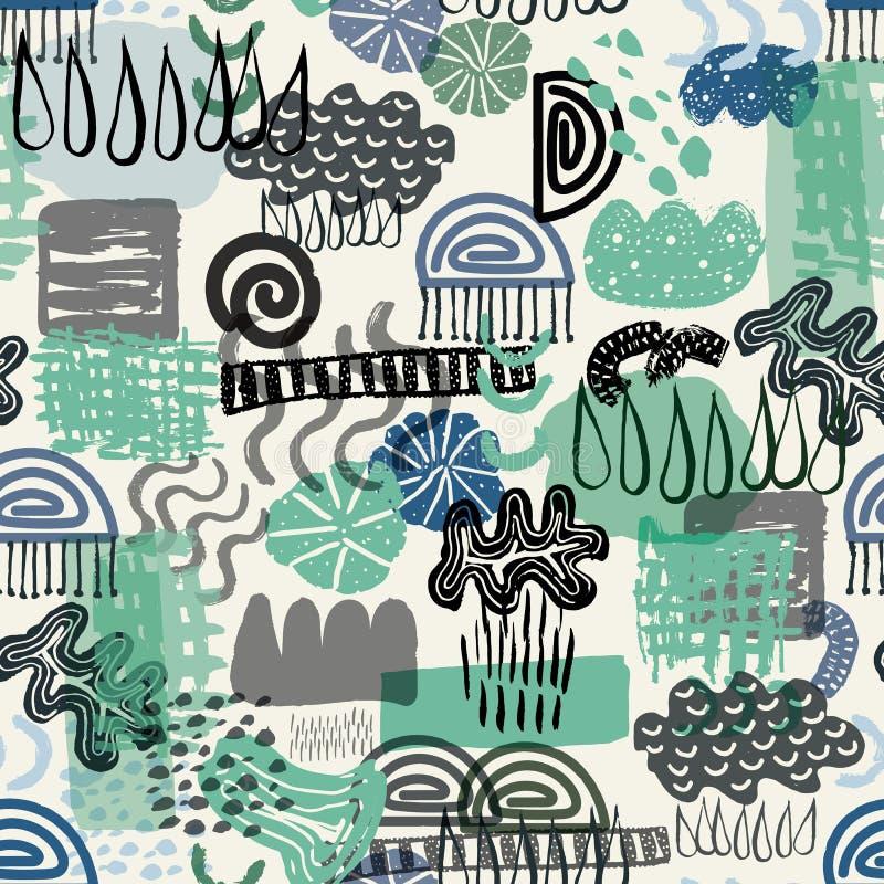 Vector naadloos groen en blauw abstract organisch en geometrisch vormpatroon die het elementenwater vertegenwoordigen stock illustratie