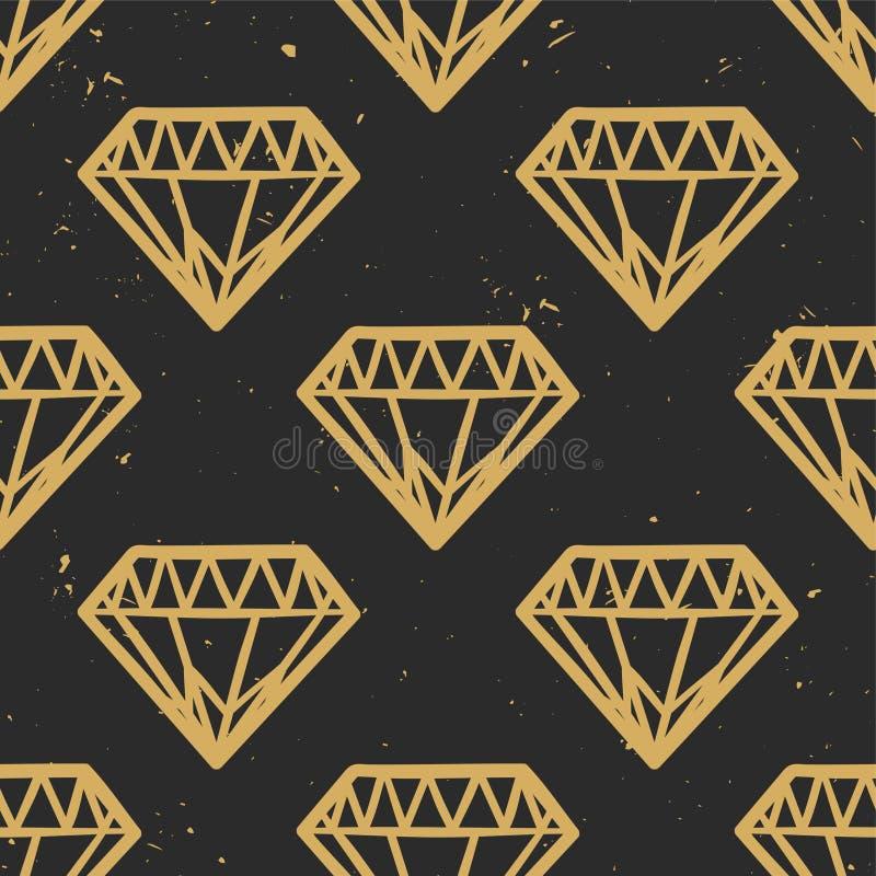 Vector naadloos grungepatroon met uitstekende diamanten vector illustratie