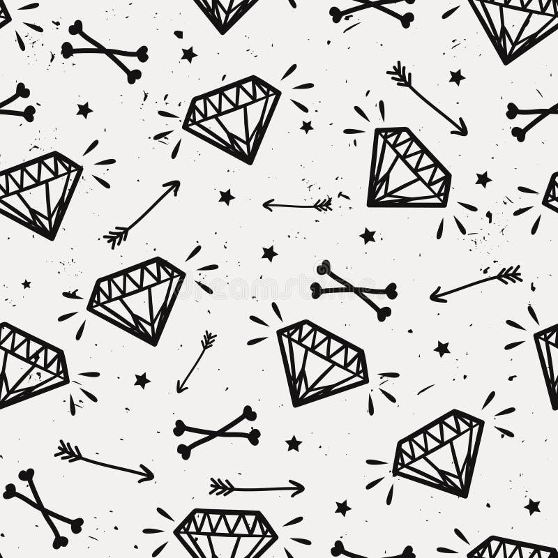 Vector naadloos grungepatroon met uitstekende diamanten, beenderen stock illustratie