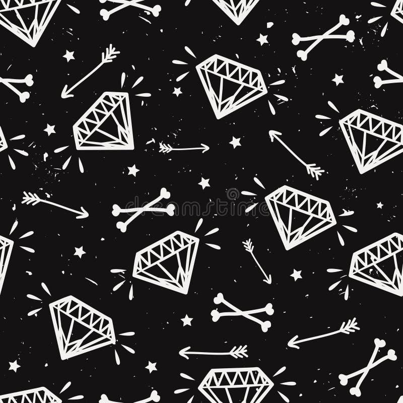 Vector naadloos grungepatroon met uitstekende diamanten, beenderen royalty-vrije illustratie