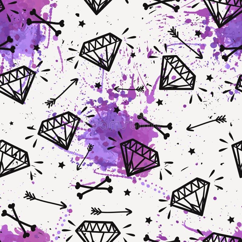Vector naadloos grungepatroon met uitstekende diamanten, beenderen vector illustratie
