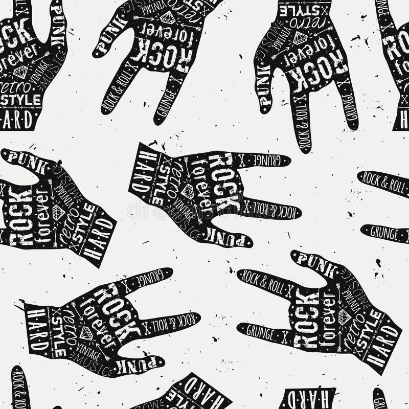 Vector naadloos grungepatroon met uitstekende handetiketten, diamanten stock illustratie