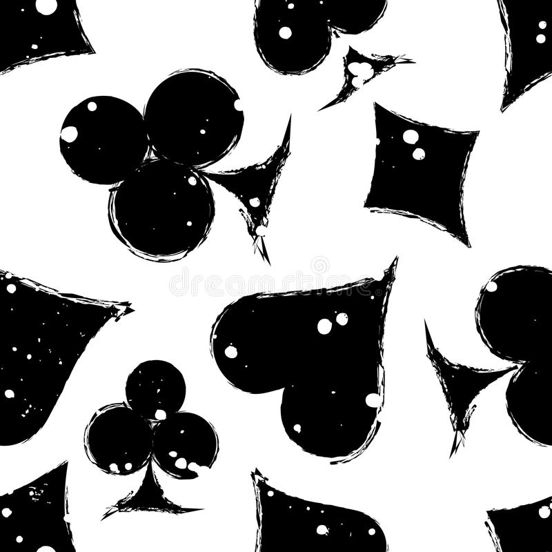 Vector naadloos grungepatroon Zwart-witte grafische illustratie van teken van speelkaart vector illustratie