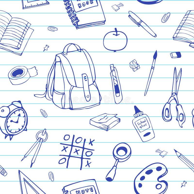 Vector naadloos hand getrokken patroon Terug naar schoolkrabbels op beslist document royalty-vrije illustratie