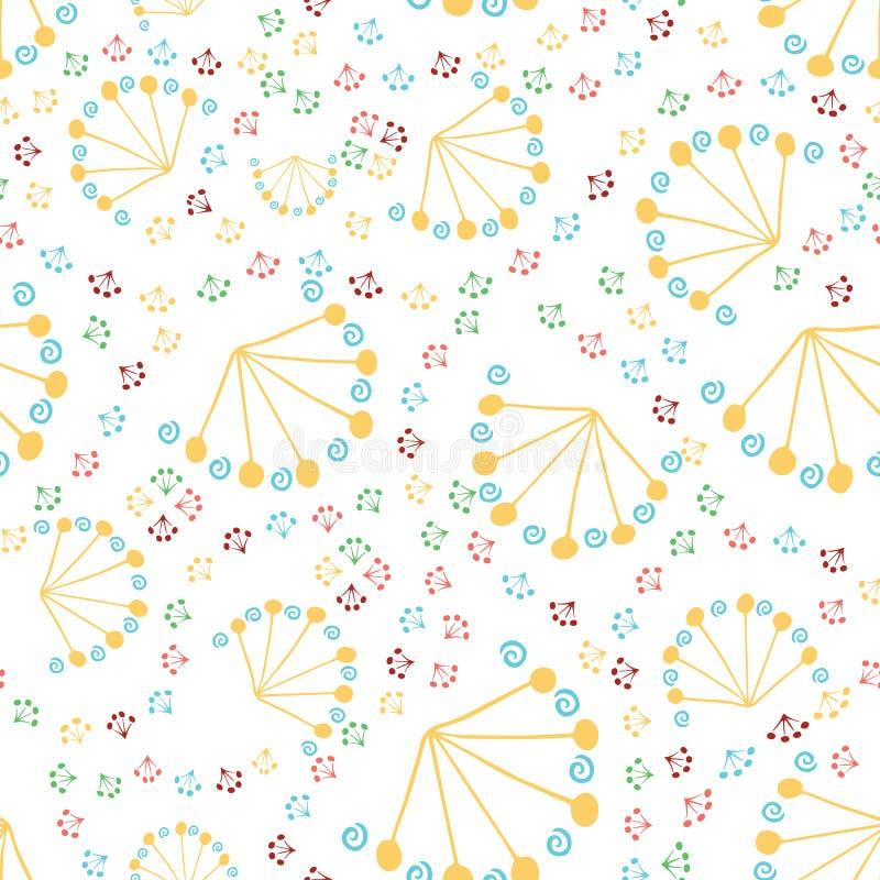 Vector naadloos hand getrokken patroon van abstracte paardebloemen vector illustratie