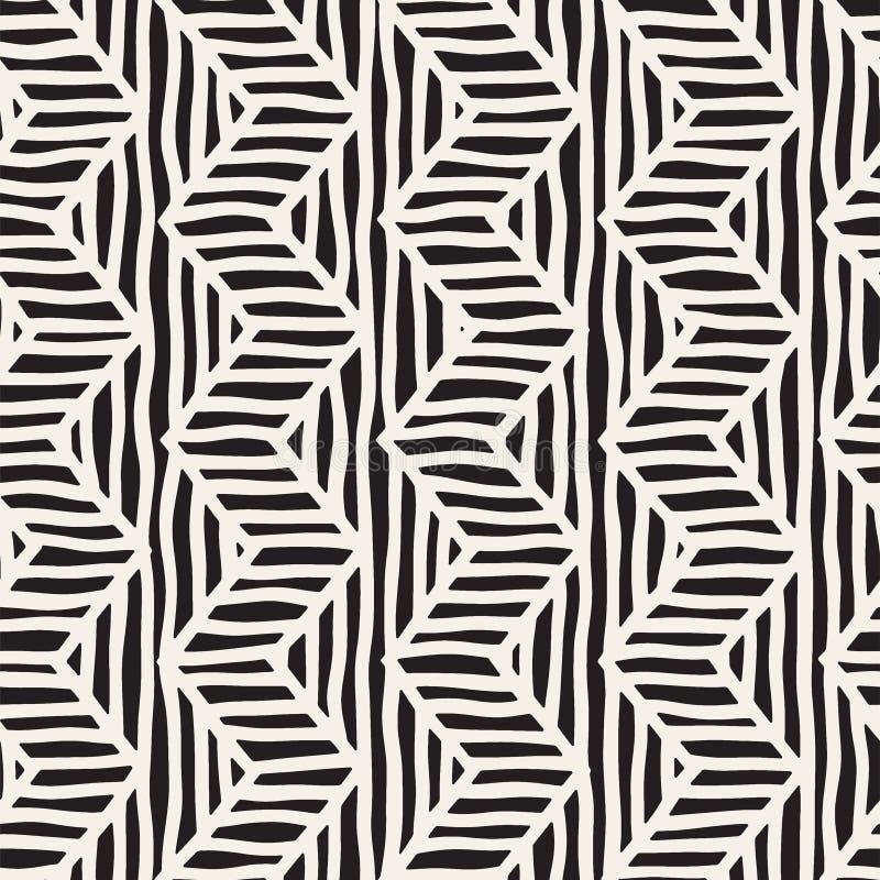Vector naadloos hand getrokken patroon Zigzag en streep ruwe lijnen Stammen ontwerpachtergrond Etnische krabbeltextuur royalty-vrije illustratie