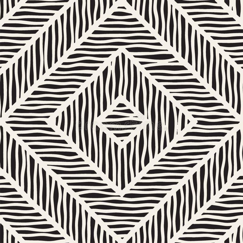 Vector naadloos hand getrokken patroon Zigzag en streep ruwe lijnen Stammen ontwerpachtergrond Etnische krabbeltextuur vector illustratie