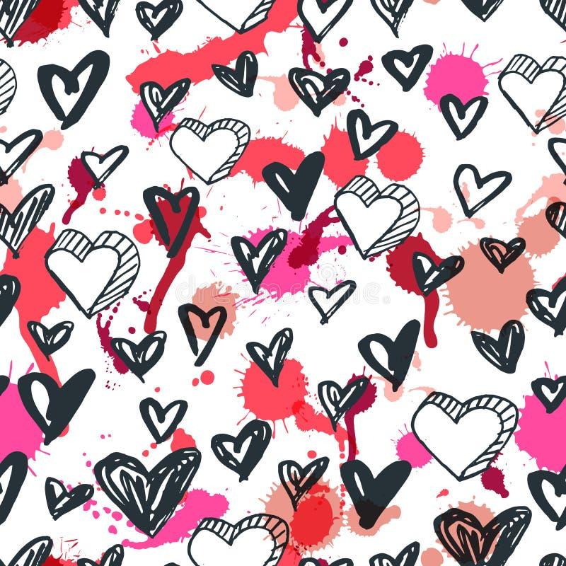 Vector naadloos hartenpatroon Zwart-witte geschetste de pictogrammen van het inkthart en van waterverfvlekken achtergrond royalty-vrije illustratie