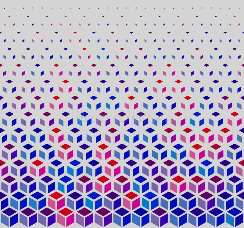 Vector Naadloos Hexagonaal het Netpatroon van het Kubus Halftone Wit Overzicht in Blauwe Roze en Rood stock illustratie