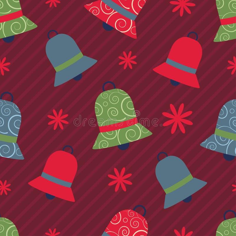 Vector naadloos Kerstmispatroon met kleurrijke klokken royalty-vrije illustratie