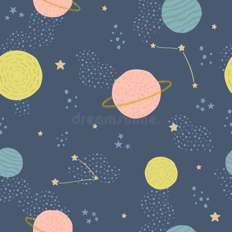 Vector naadloos kinderachtig patroon met ruimteelementen: sterren, planeten, asteroïden stock illustratie