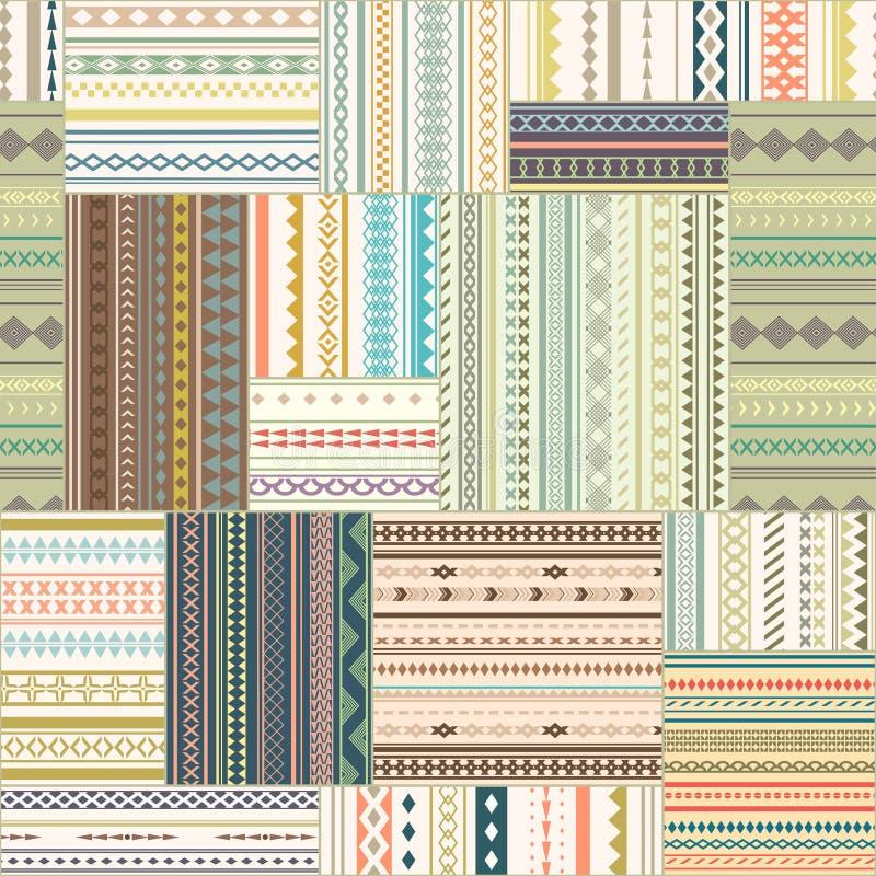 Vector naadloos lapwerkpatroon Uitstekende etnische stammenseamles royalty-vrije illustratie