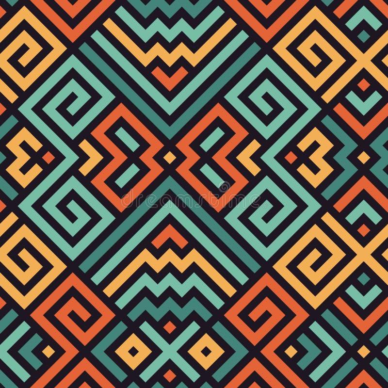 Vector Naadloos Maze Pattern voor Textielontwerp royalty-vrije illustratie
