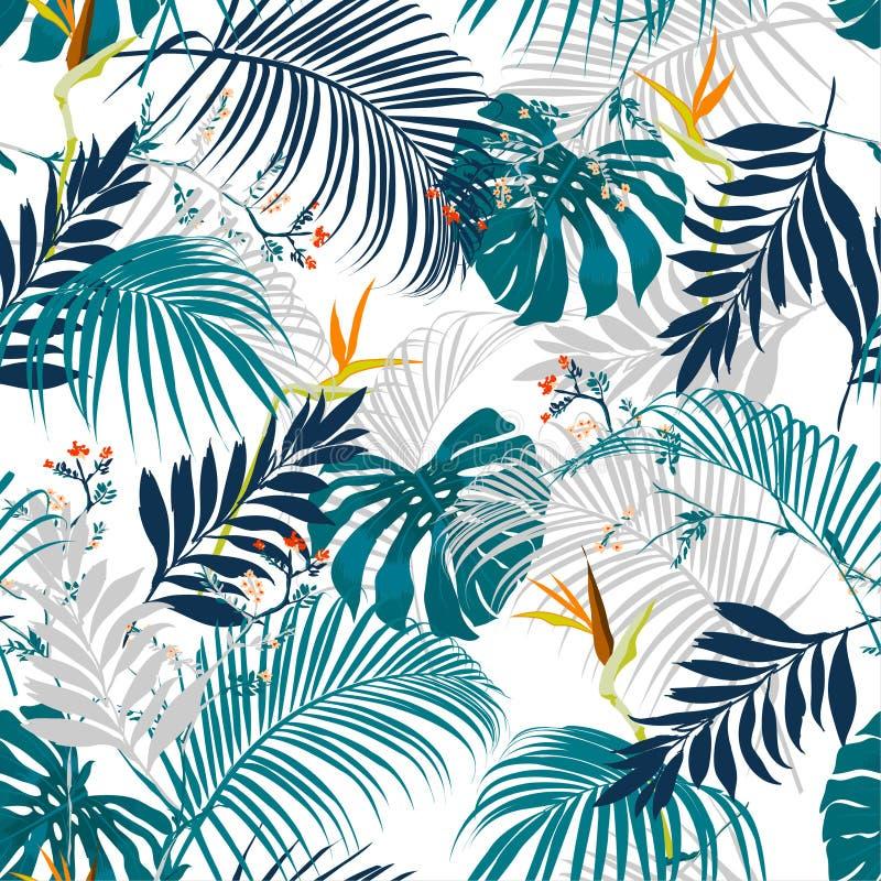 In vector naadloos mooi artistiek de zomer tropisch geklets stock illustratie