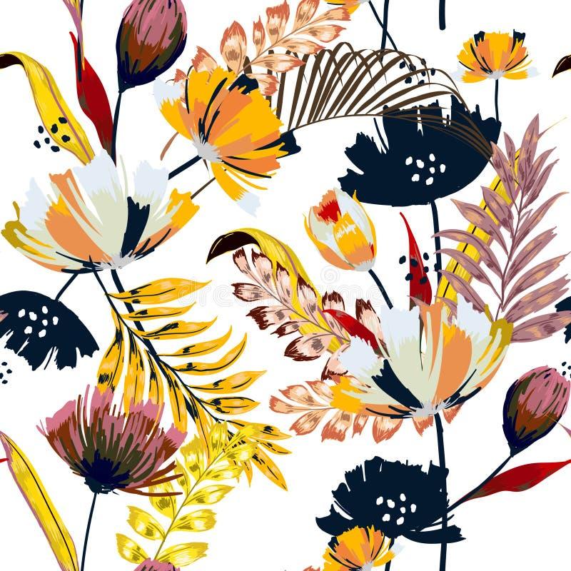 In vector naadloos mooi artistiek helder tropisch geklets vector illustratie